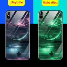 Luminous Glass Case For iPhone 6 6S 7 8 Plus Back Cover X 10 Luxury Silicone Phone Cases XS XR XSMAX