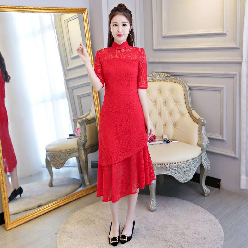 Femmes Dentelle De Rouge Nouvelle Robes Qipao Taille Cheongsam Xl À 27563a Mode Robe Style L Xxl M Long Chinois Arrivée Élégante S Xxxl X0k8wnONPZ