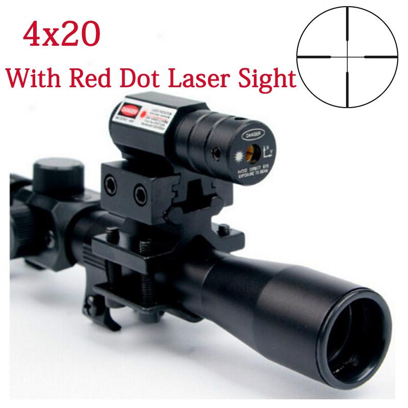 4x20 Air Gun Rifle Optics Scope Tactical Riflescope With Red Dot Laser Sight And 11mm Rail Mounts For 22 Caliber Guns Hunting