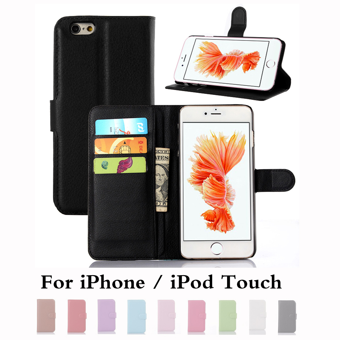 Wallet Case for Apple iPhone 7 6 6s I6 SE 5S 5C 5 4 4S iPod Touch PU Leather Back Shell Pink Rose Green Purple Blue Black White