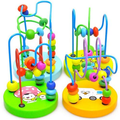 Divertido Montessori juguetes niño bebé colorido de madera Mini alrededor de cuentas niños juguetes divertidos Mini alrededor de cuentas juguetes educativos regalos