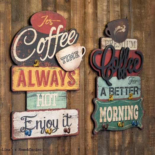 Coffee Theme Vintage Retro Painted Wooden Mdf Plaques With Hooks