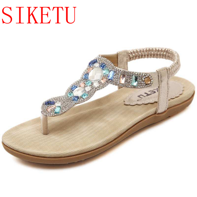 ef280627d SIKETU Bling Rhinestones Women Wedding Sandals Tong Shoes Elastic Band Shoes  Silver Sandals Flat Heel 383-3