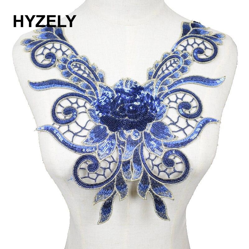 Embroidery Trim Neckline Collar Applique Fabric Cloth Sew On DIY Craft Style A Blue