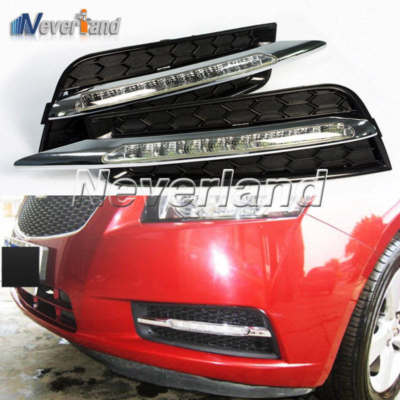 For Chevrolet CRUZE 2009 2010 2011 2012 Auto Car 9 LED DRL Daytime Running Lights Fog Lamp Freeshipping D10 drl daytime running lights for audi a4 b8 2009 2010 2011 2012 auto led day driving lamp with fog lamp hole free shipping