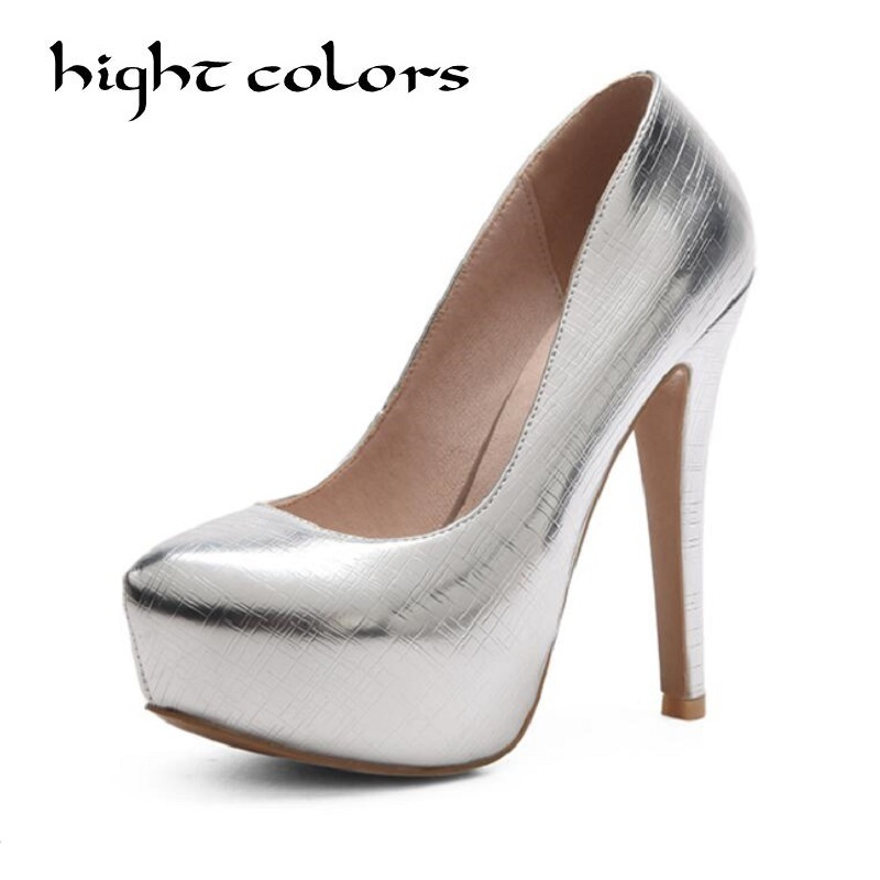 New Sexy Thin High Heels Shoes Women Pumps 2018 Spring Round Toe Platform Single Shoes Women Wedding Party Big Size 34 45 27.5cm meotina women wedding shoes 2018 spring platform high heels shoes pumps peep toe bow white slip on sexy shoes ladies size 34 43