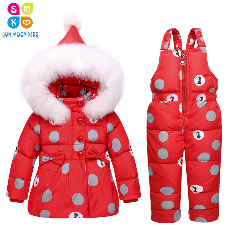 Russia Winter Children Clothing Sets Jumpsuit Snow Jackets+bib Pant 2pcs Set Baby Boy Girls Duck Down Coats Jacket With Fur Hood шкаф для одежды волжанка