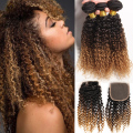 Brazilian Virgin Hair With Closure Curly Hair 3Bundles With Closure  Blonde Brazilian Human Hair Deep Curly With Closure