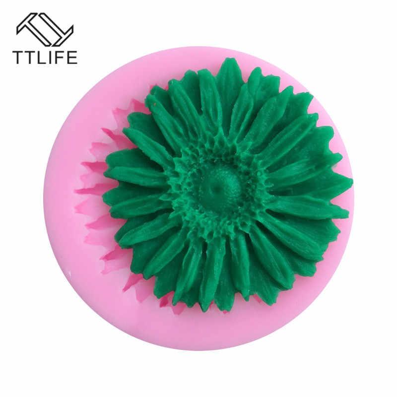 TTLIFE Sunflower เกรดอาหารซิลิโคนแม่พิมพ์ Fondant เค้กตกแต่งเครื่องมือ DIY ช็อกโกแลต Cupcake Clay หัตถกรรม Baking Mold