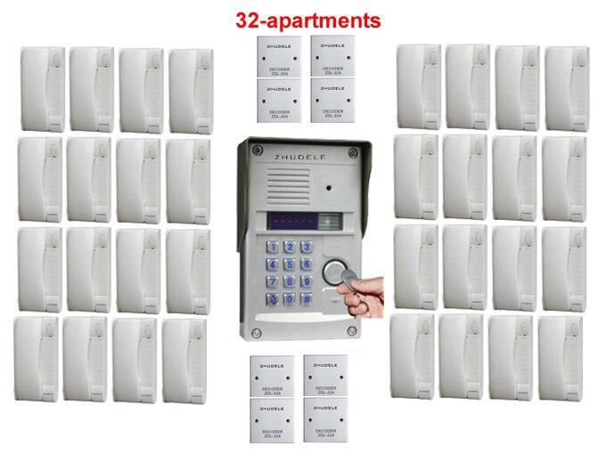 Zhudele Top Qualität Sprech Home Security Audio-türsprechanlage Metallgehäuse Außenstation Passworde & Id Karte Für 32-apartments Audio Intercom