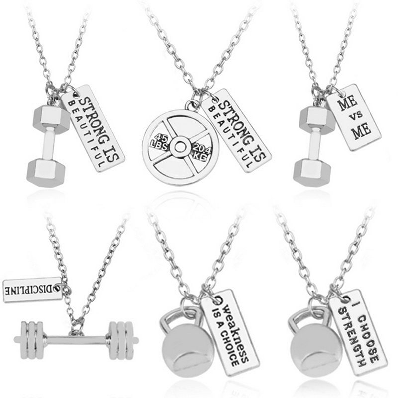 New Arrival 1pc/bag Europe & America Style Fitness necklace Sports Pendant for Men & Women Jewelry Gift