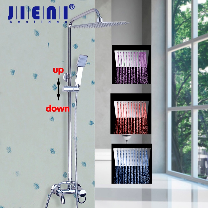 New Wall Mounted LED Bathroom Shower Set Faucet W/ Commodity Shelf And Hangers Polish Chrome Mixer Tap Dual Handles gappo classic chrome bathroom shower faucet bath faucet mixer tap with hand shower head set wall mounted g3260