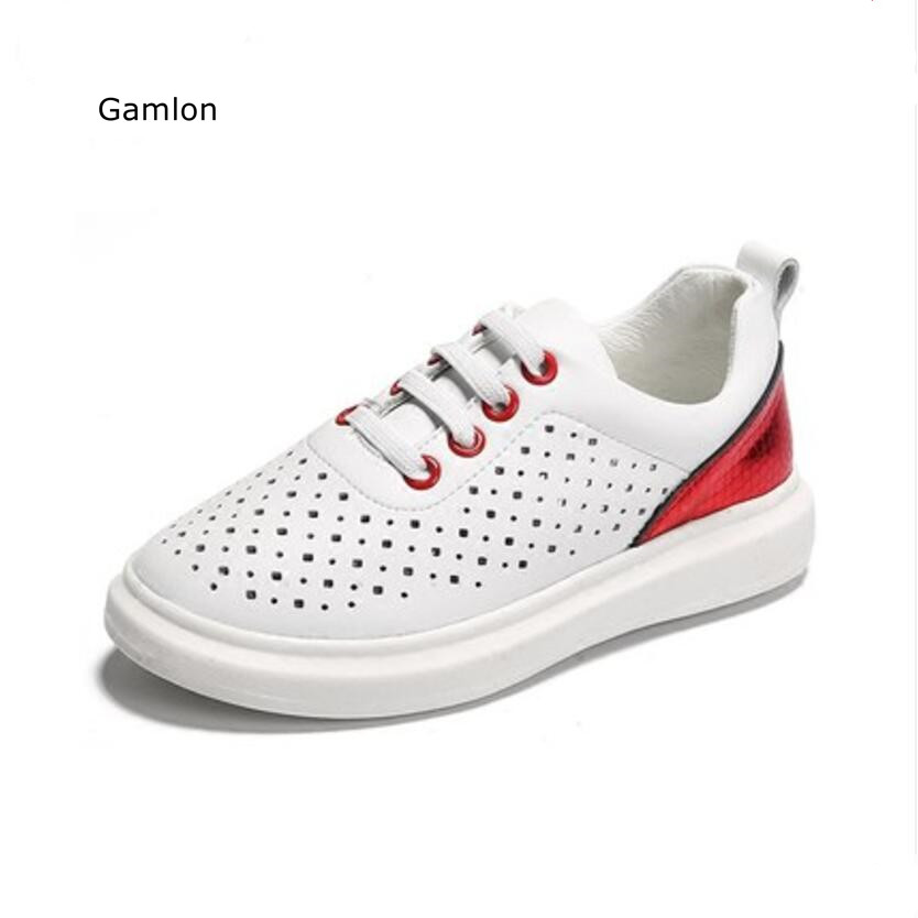 Gamlon Genuine Leather Children's Sneakers White Shoes Female Boys Sports Shoes Breathable 2017 New Summer Autumn Kids Shoes