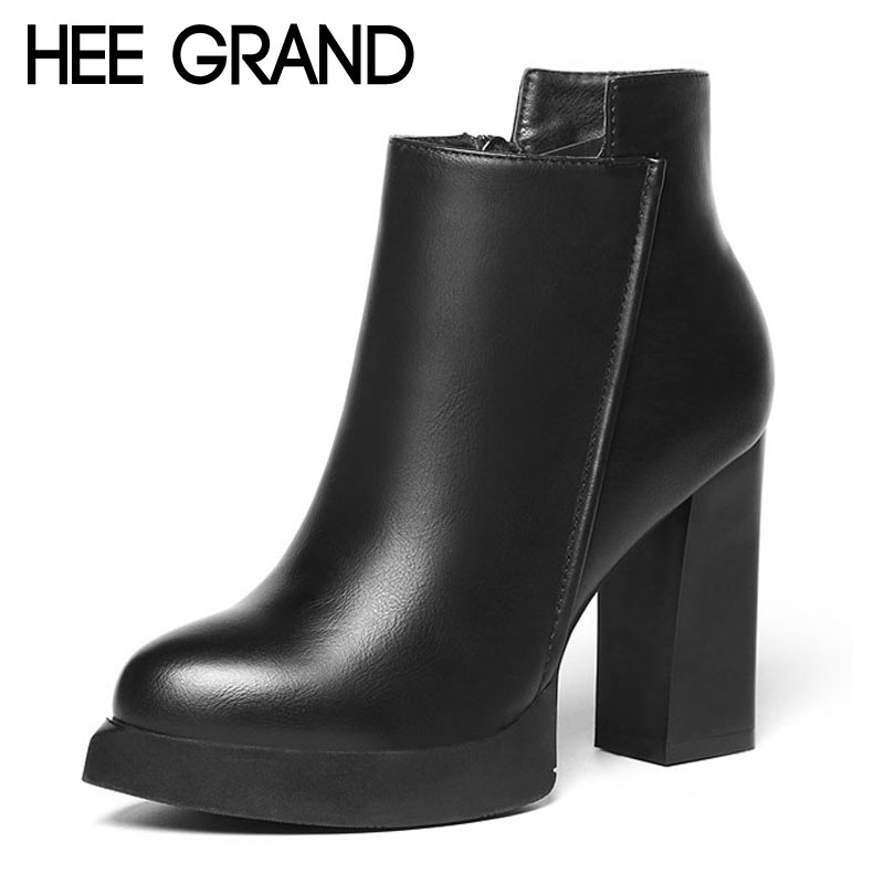 HEE GRAND Sexy Women Ankle Boots 2017 Casual Platform Shoes Woman Sexy High Heels Slip On Fashion Autumn Women Shoes XWX4425 hee grand gold silver high heels 2017 summer gladiator sandals sexy platform shoes woman casual shoes size 35 43 xwz4075