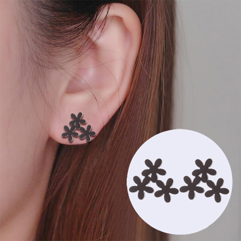 Shuangshuo Fashion Cute Metal Flower Stud Earrings For Women Stainless Steel Korean Jewelry Girls Gift Sun Flower Earring Brinco