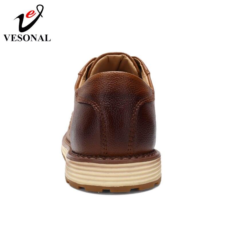 Homem Vesonal Genuíno marrom Clássico Sapatos Preto Costura Artesanal Outono Masculinos Calçados Moda Oxfords Casual Cow Couro Sneakers Primavera zRqrSxz