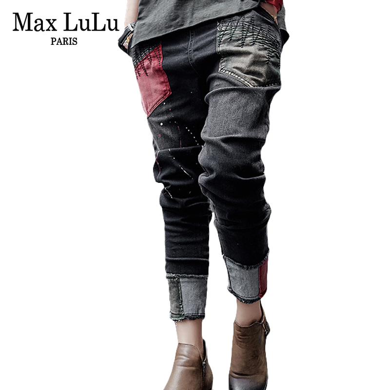 Max LuLu Luxury Brand Elastic Womens Ripped Mom Jeans Black Embroidery Woman Skinny Casual Vintage Denim Harem Pants Plus Size new female casual sexy rose denim jeans with embroidery ripped vintage pencil jeans for women cuffs long pants plus size 2xl