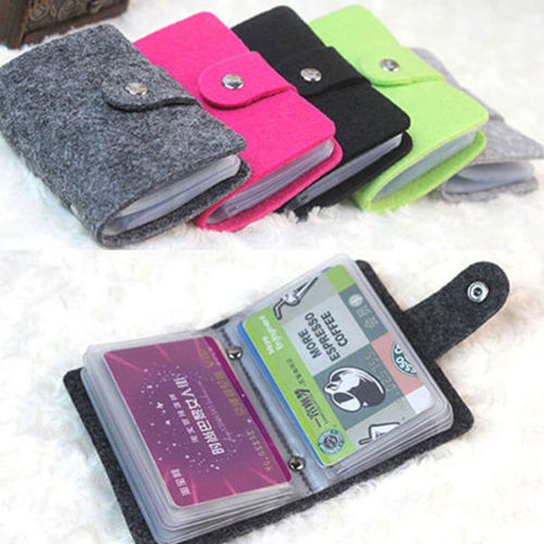 2019 Fashion Women Men Felt Soft Pocket Business ID Credit Card Holder Case Wallet For 24 Card Solid