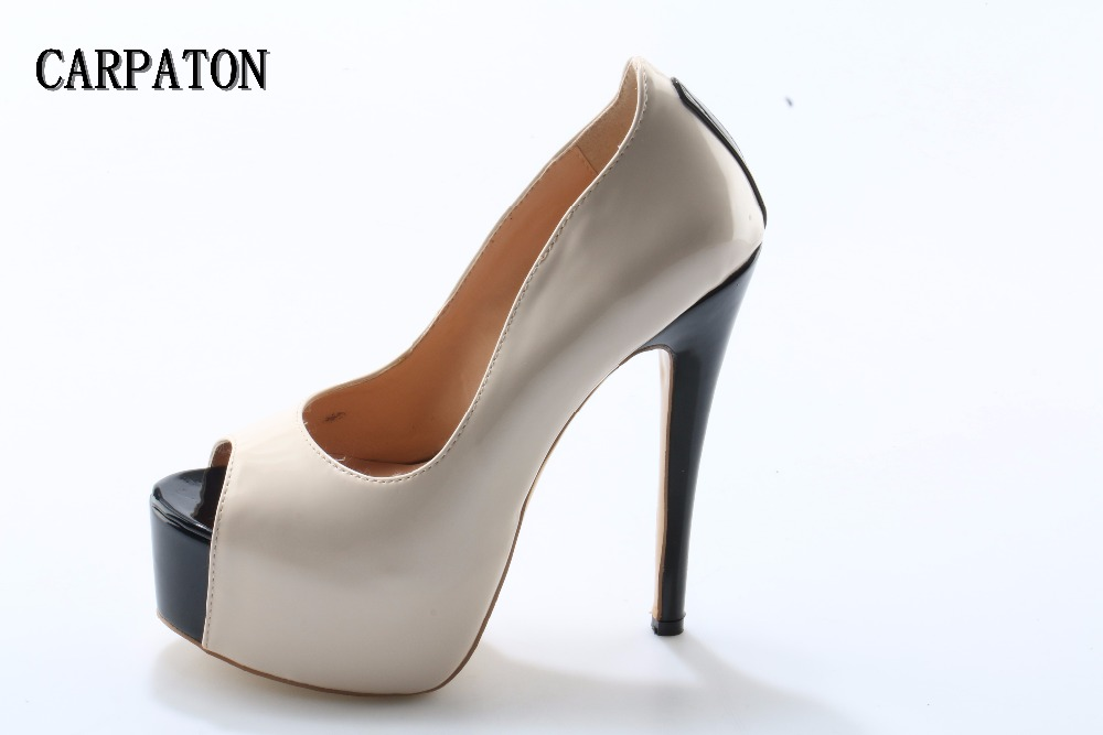Newest sexy platform pumps for women 2018 sexy peep toe high heel shoes super high nude leather dress heels office lady shoes купить