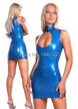 Summer dress Blue Sexy latex dress fetish rubber vestidos standard dresses plus size hot saleCustomize Service