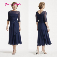 Navy Blue Mother Of The Bride Dresses Tea Length Scoop Neck Pleated Half Sleeves Mother Of