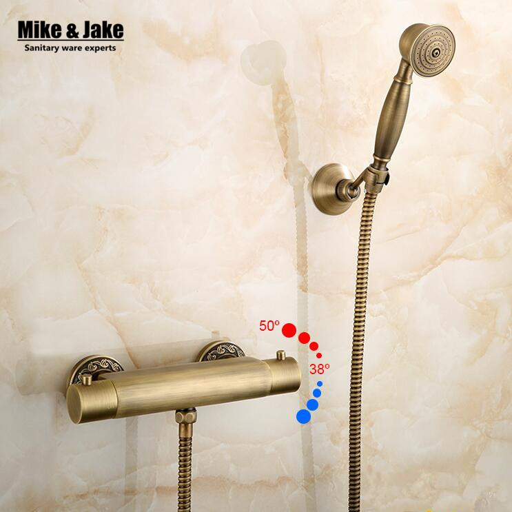 Antique brass Thermostatic shower mixer kit wall thermostatic faucet with hand shower 1.5 meter shower hose brass shower holder wall mounted two handle auto thermostatic control shower mixer thermostatic faucet shower taps chrome finish