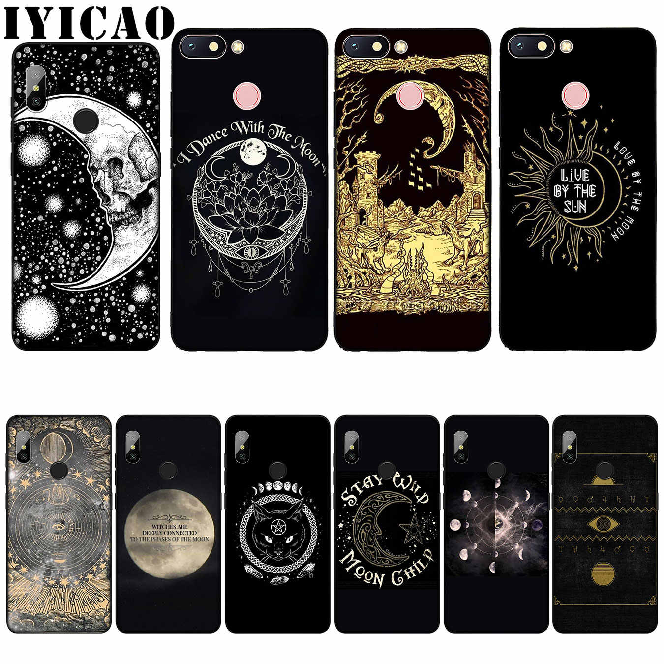 IYICAO Augur Maan Tarot Goddelijke Silicone Silicone Soft Case voor Xiaomi Redmi 6A 5A Note 8 7 4 4X5 Plus 6 Pro Black TPU Cover