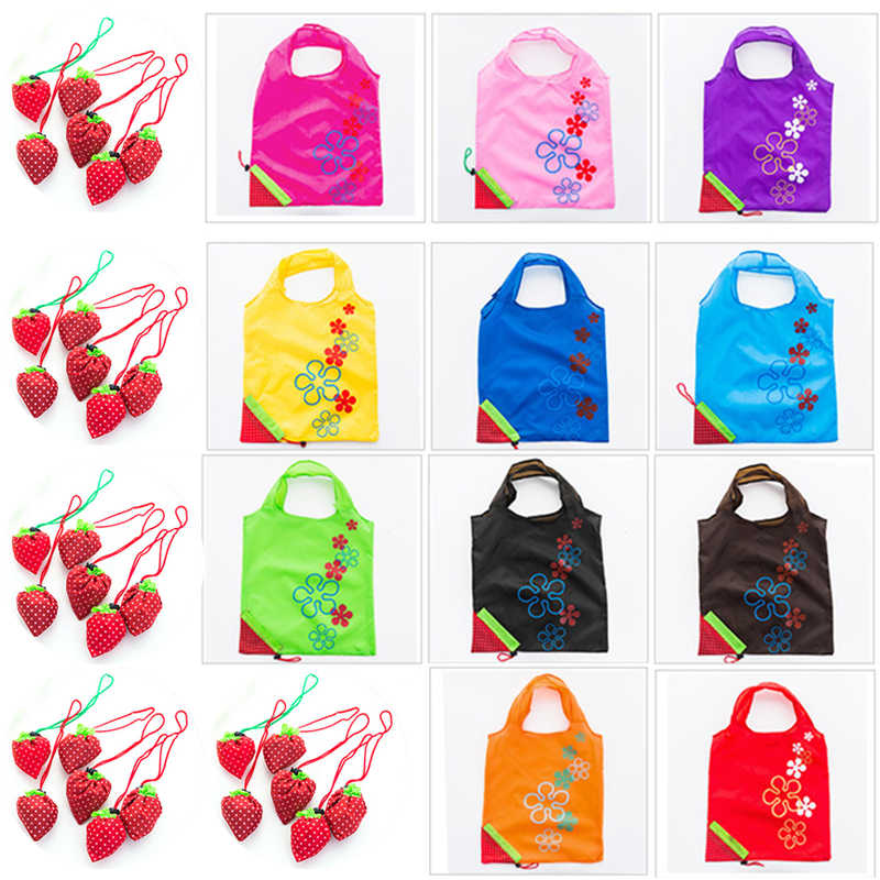 Einkaufstasche Floral Falten Drop Verschiffen Mehrweg Wasserdichte Staubdicht Grocery Nylon Große Erdbeere Falten Tote Lagerung Taschen