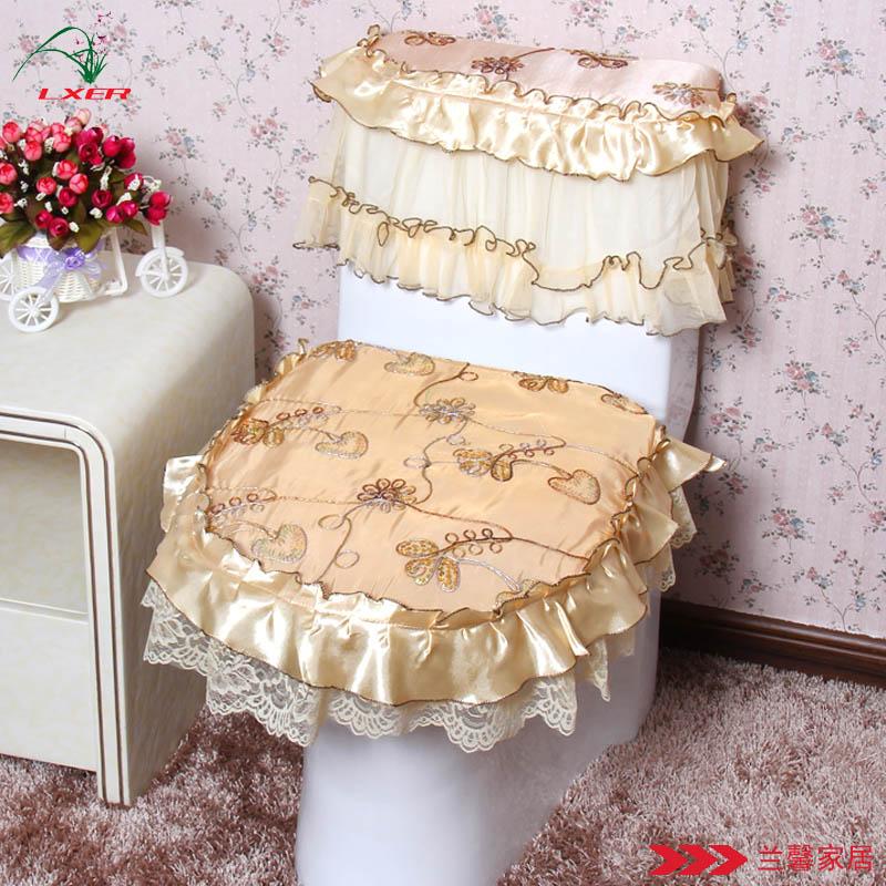 Fabric Lace Ruffle Piece Set Fashion Gorgeous Toilet Cover