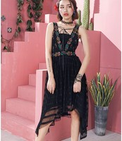 Jessica S Store Summer Women Vintage Royal Style Sleeveless V Neck Luxury Embroidery Casual Loose Black