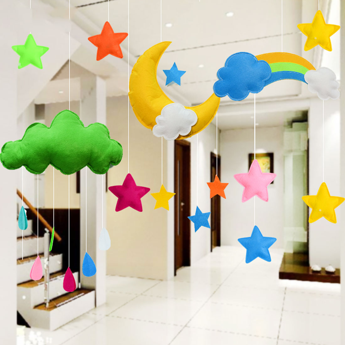 Scandinavian Style Kids Room: Felt Cloud Kids Room Decoration Cloud Scandinavian Style