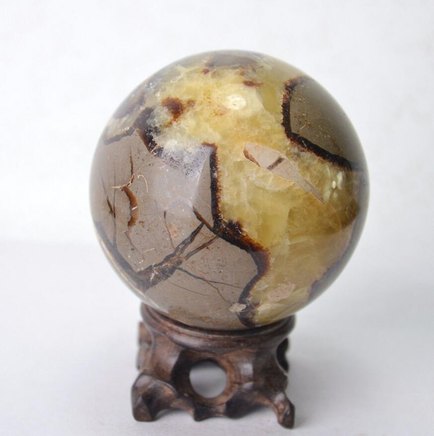 Polished DRAGON SEPTARIAN Sphere Crystal w/Rosewood Stand Madagascar
