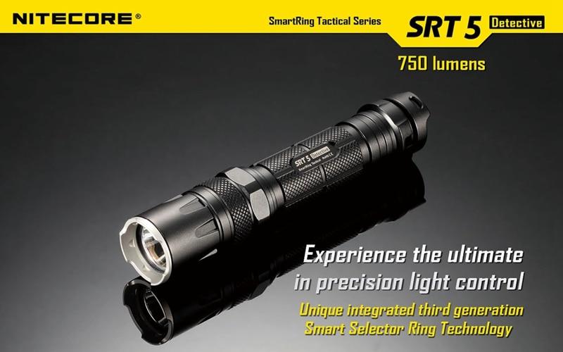 Nitecore SRT5 Tactical Waterproof 750LM 4 modes XM-L2 T6 LED light lamp Flashlight Not Battery nitecore tm06s palmtop monster waterproof 4000lm 5 modes 4 x xm l2 u3 led light lamp flashlight 18650 torch holster o ring