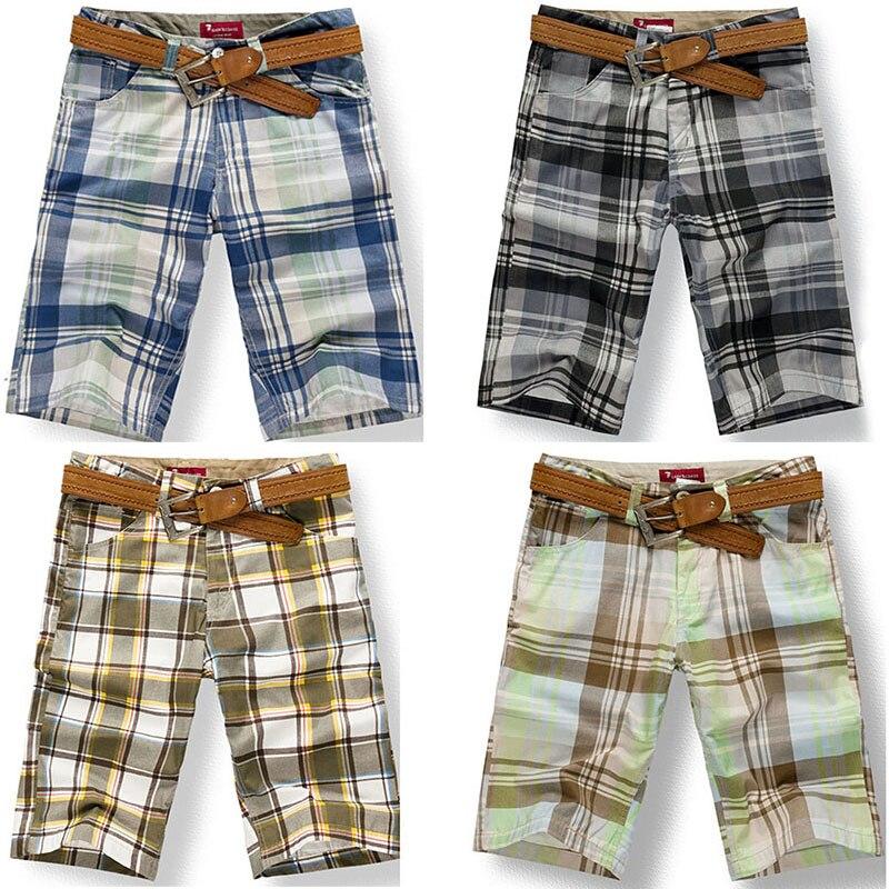 6 Styles 2017 Summer Fashion Male Checkered Beach Bermuda Men Plaid Short Tartan Pants Plus Size 38