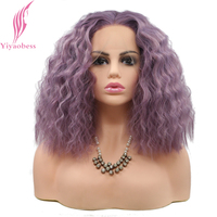 Yiyaobess 180 Density Short Wavy Lace Front Wig Synthetic Hair Two Tone Dark Roots Green Pink Grey Purple Blonde Wigs For Women