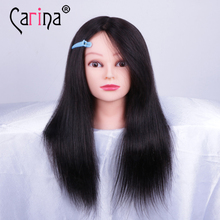 100% natural hair mannequin head hairdressing doll with woman stand