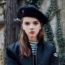 Autumn Winter Vintage Black Cute Heart Embroidery Beret Women Artist Cap Ladies Wool Hat Headwear Berets