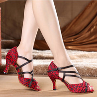 New 2016 Fashion Sexy Women Dancing Salsa Shoes High Heel Satin Latin Ballroom Dancing Shoes For