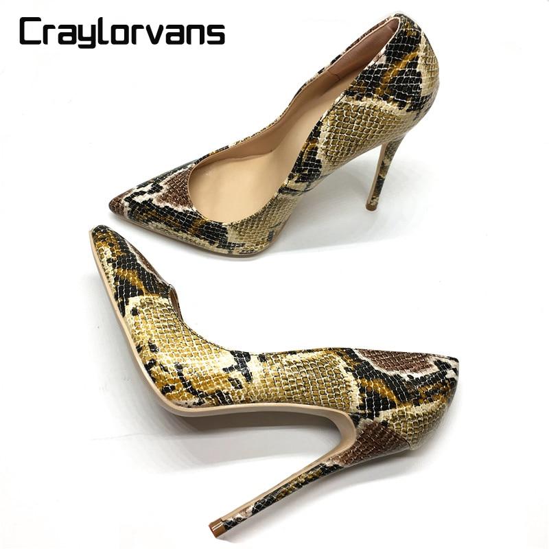 Craylorvans Одежда высшего качества с принтом и змеиным узором женская обувь пикантные туфли на высоком каблуке 2018 острый носок женские туфли ло