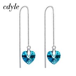 Cdyle Crystals from Swarovski Earrings Dangle for Women Heart Drop S925 Sterling Silver Girls Blue Jewelry Fashion Tassel 2018