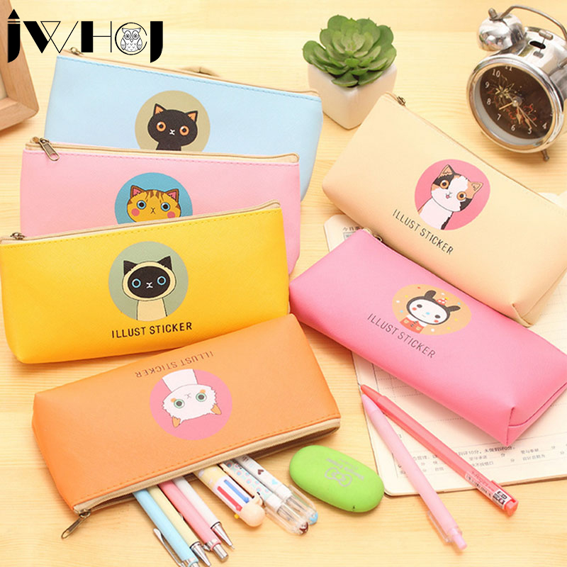 1x Cute Cartoon animal Waterproof PU leather zip Pencil Bag Pencil Case School Supplies Cosmetic Bag children gift stationery