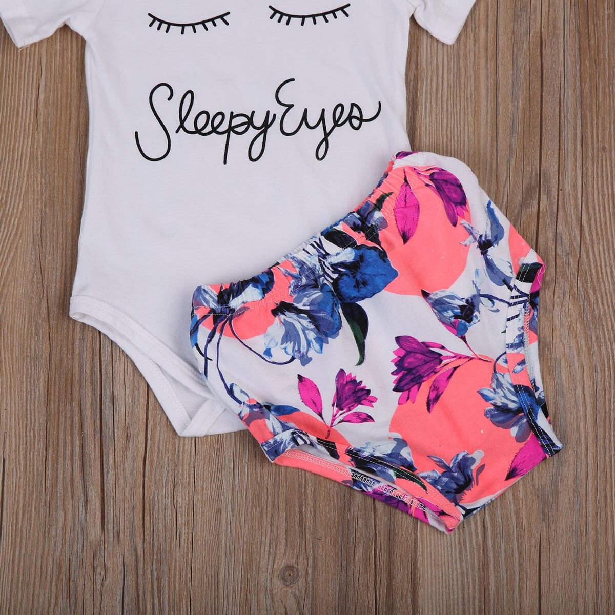 Newborn Infant Baby Girls Floral Short Briefs Headband Outfit Clothes Set 3-24M