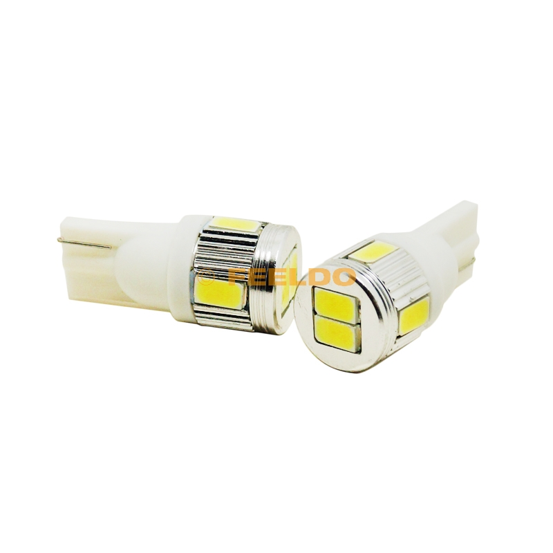 Buy FEELDO 2Pcs 12V 3W Pure White T10/194/W5W 6SMD 5630 Car Light Bulb#3898 for only 1.5 USD