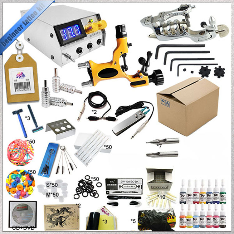 Complete 14 color tattoo ink tattoo needles accessary set Two rotary tattoo machine gun kit hot tattoo kit full set accessary tattoo kit machine gun power supply needles grip tip ink