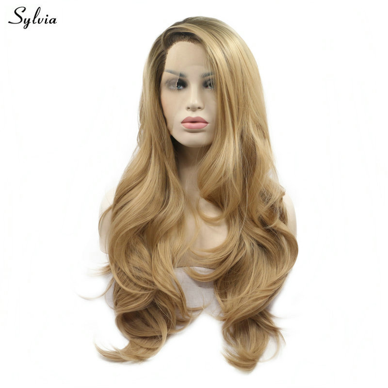 Sylvia Brown Ombre Blonde Wavy Wig Long Hair Side Parted High Temperature Synthetic Lace Front Wigs