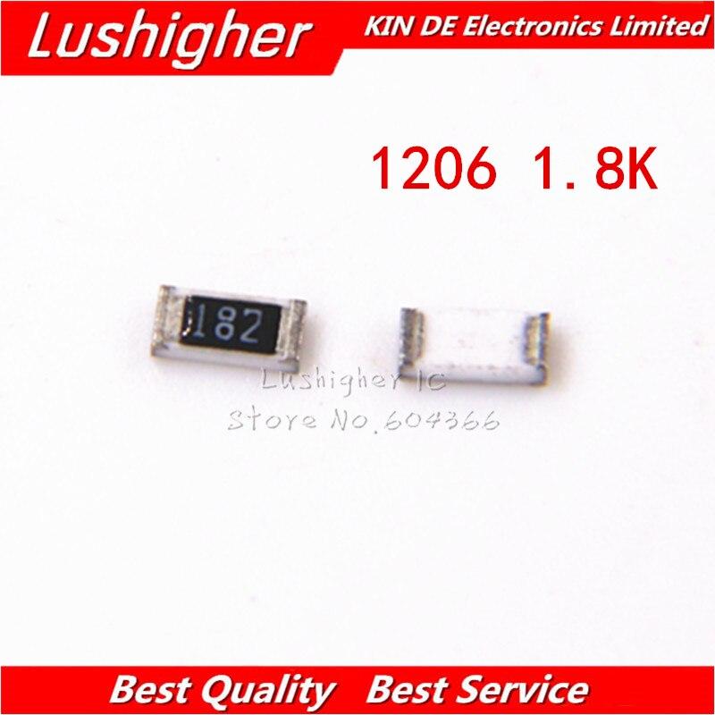 100PCS 1206 SMD Resistor 5% 1.8K Ohm 182 1.8Kohm 1800ohm