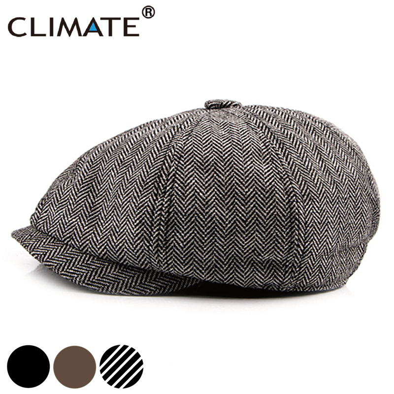 CLIMATE Men Vintage Newsboy Caps Casual Berets Cool Blank Solid Hat Flat Caps Newsboy Cap Beret Wind British Style Hat For Men