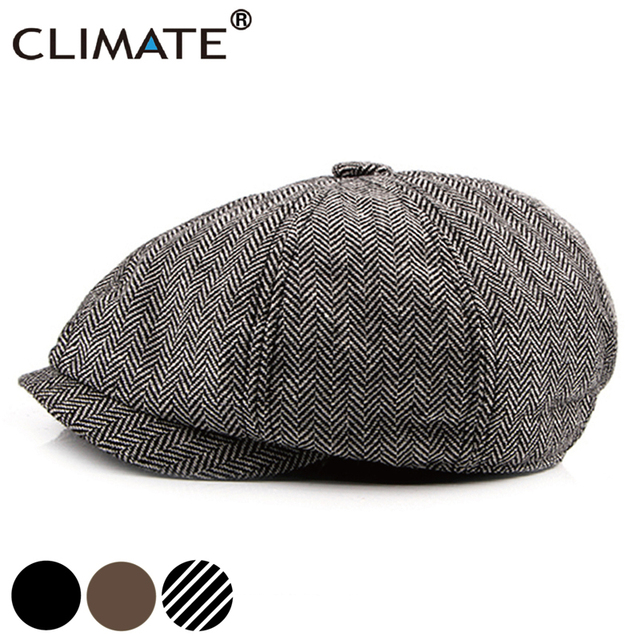 US $7 13 38% OFF CLIMATE Men Vintage Newsboy Caps Casual Berets Cool Blank  Solid Hat Flat Caps Newsboy Cap Beret Wind British Style Hat for Men-in
