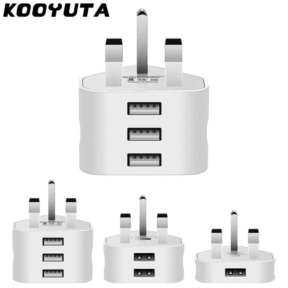 2 Port Usb 5V/1A/2.1A/3.1A Power Adapter 3 Pin Uk Plug Ac Wall Charger met 1/2/3 Usb-poorten Opladen Voor Iphone Samsung Uk Plug