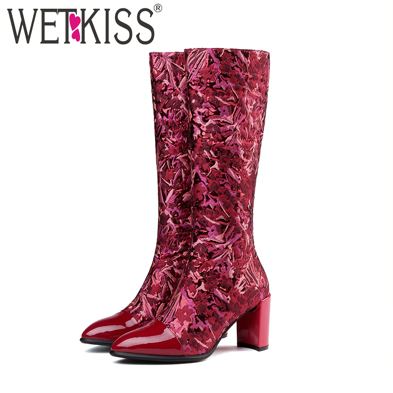 WETKISS Patent Leather Women Knee High Boots Pointed Toe Zip Footwear Print Female Boot Silk Shoes Women 2018 Black Autumn NewWETKISS Patent Leather Women Knee High Boots Pointed Toe Zip Footwear Print Female Boot Silk Shoes Women 2018 Black Autumn New